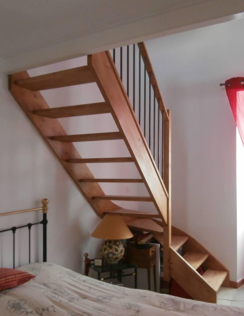 Fabricant D Escalier Bois escalier 1/4 tournant en bois hévea pose à avignon 84