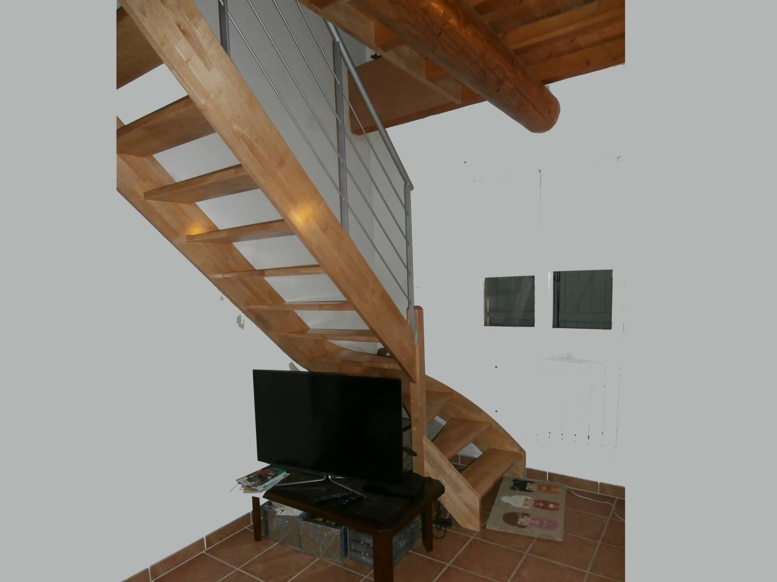 escalier un quart tournant en h v a sans contremarche atelier des escaliers aubaret. Black Bedroom Furniture Sets. Home Design Ideas
